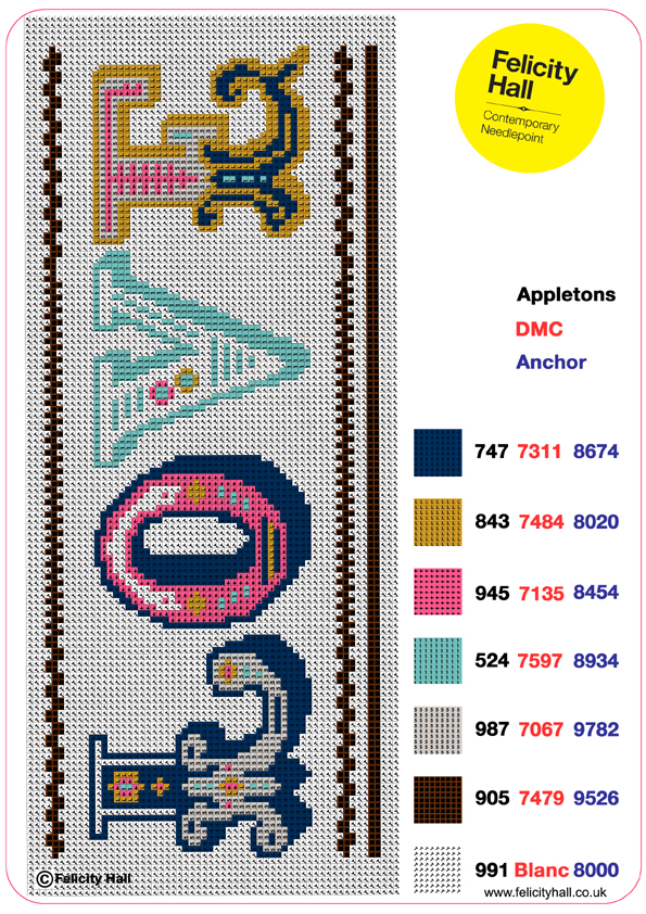 Charted Love design for needlepoint or cross stitch by Felicity Hall
