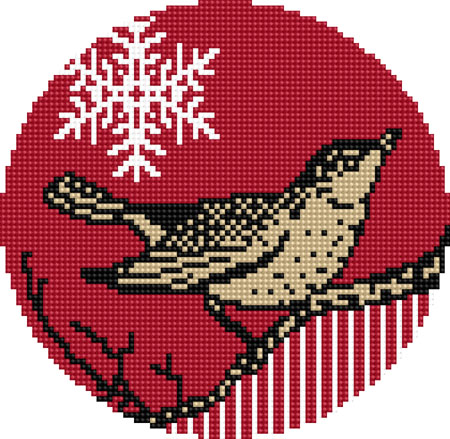 Christmas Ornament charted needlepoint or cross stitch design