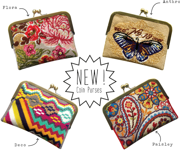needlepoint coin purses designed by felicity hall